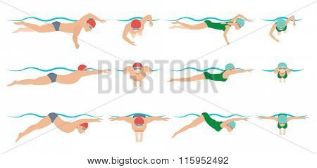 Vector illustration of swimming style scheme. Different swimmers style. Man and woman swimming in pool. Swimming sport infographic