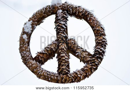 Frozen Peace Sign Against A Light Background
