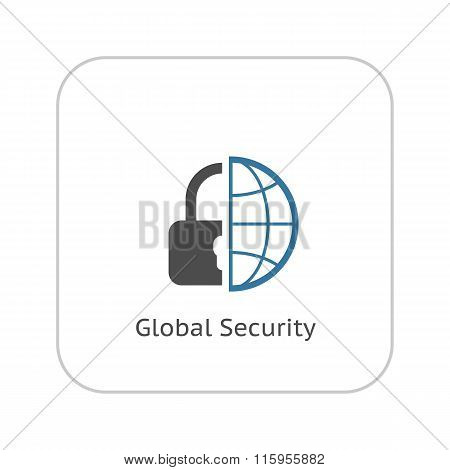Global Security Icon. Flat Design.