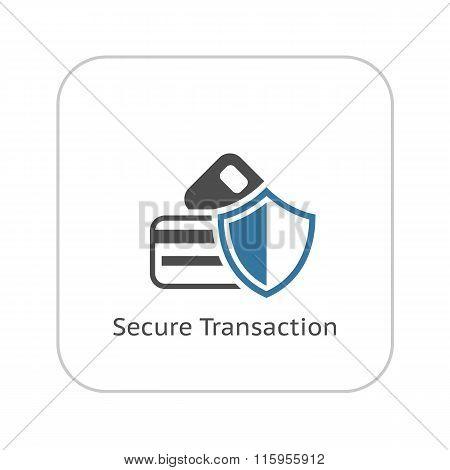 Secure Transaction Icon. Flat Design.