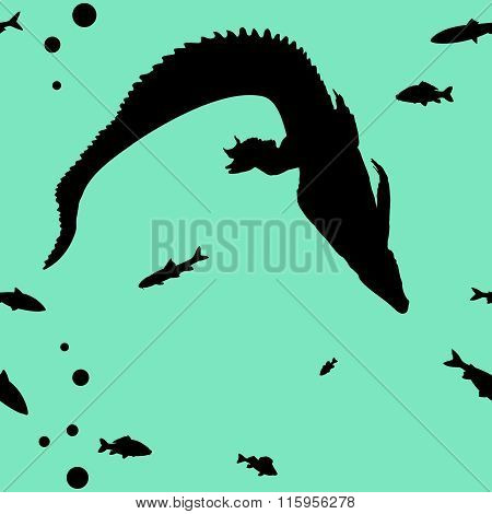 Hunting young Crocodile vector seamless background