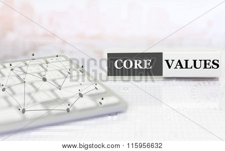White label with keyboard on the table and text Core Values.