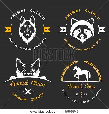 Set Of Vintage Logos For Vet Clinic