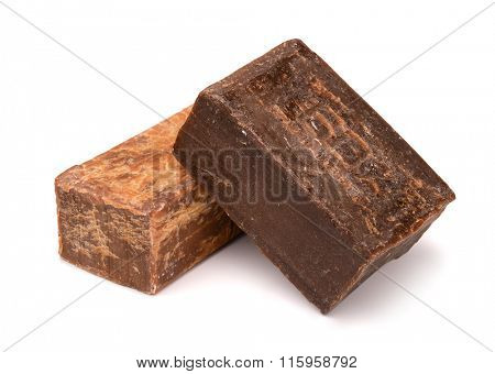 Two bars of old natural soap isolated on white