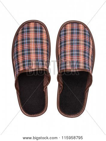 Top view of plaid slippers isolated on white