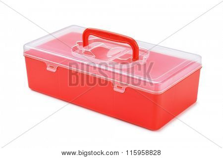 Red plastic organizer box isolated on white