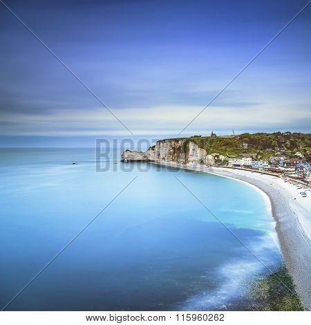 Etretat Cliff, Rocks Landmark And Ocean . Normandy, France.
