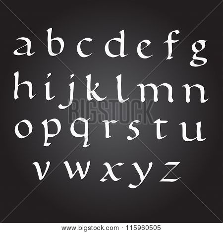 Bace Vector Ink Alphabet. calligraphy ABC Painted Letters. Painted Alphabet.