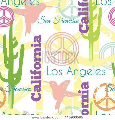 Vector Colorful California Animals Travel Seamless Pattern with Los Angeles, San Francisco, Hummingb