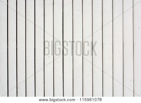 Wood Paling Fence Painted White Background