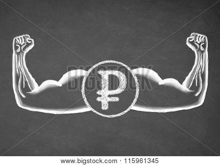 Strong Ruble. Financial concept.