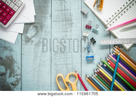 School Supplies On Vintage Old Blue Wood Texture Background Ready For Your Design.