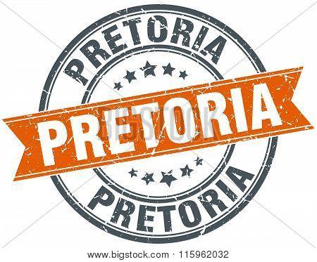 Pretoria red round grunge vintage ribbon stamp