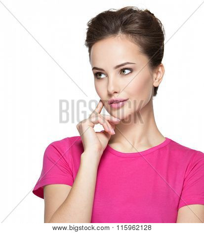 Portrait of the young thinking woman with some  problem -  isolated on white background