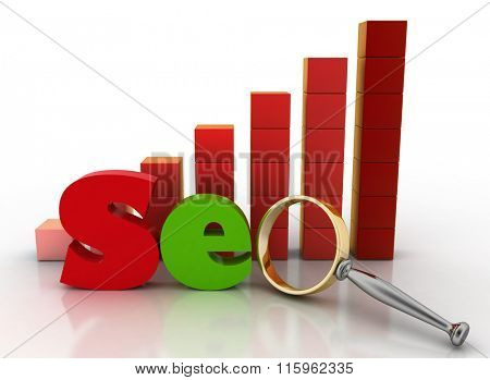 3d illustration of letter SEO with Magnifying glass on a background a diagram