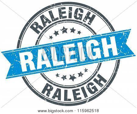 Raleigh blue round grunge vintage ribbon stamp