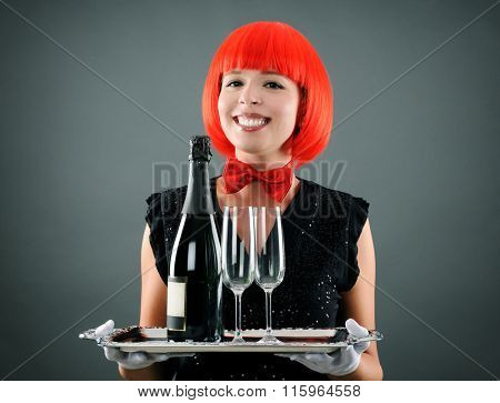 pretty waitress with wine