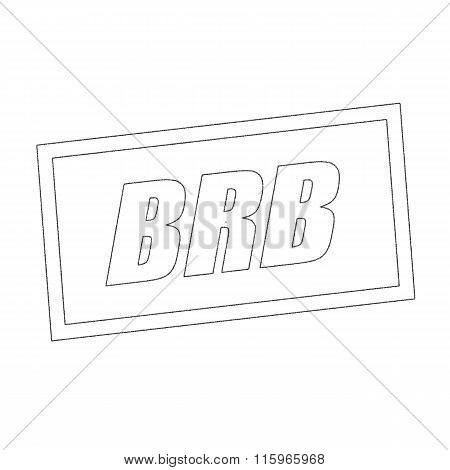 Brb Monochrome Stamp Text On White