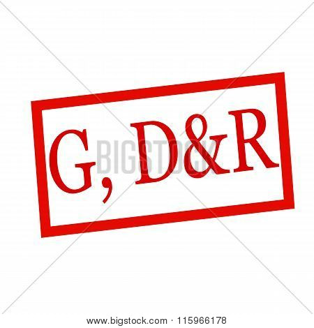 G, D&r Red Stamp Text On White
