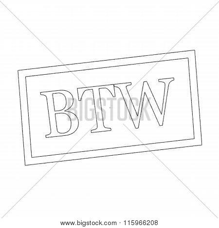 Btw Monochrome Stamp Text On White