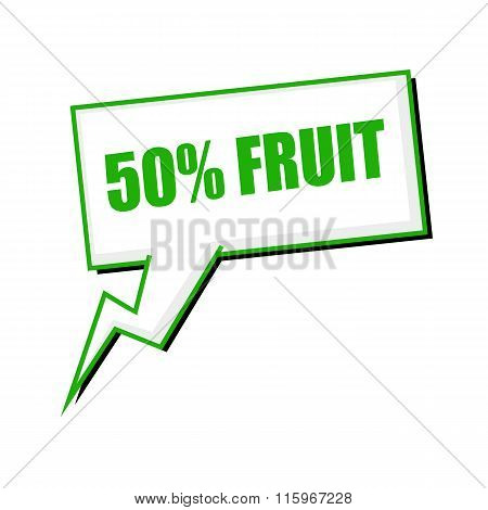 Fifty Percent Fruit Green Stamp Text On White Speech Bubbles