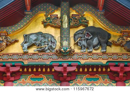 NIKKO, JAPAN - NOVEMBER 17, 2015: One of the three famous wood carvings Sozonozo Elepants (imagined elephants) at Tosho-gu shrine carved by an artist who had never seen elephant