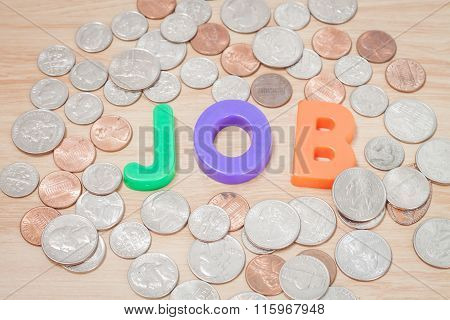 Job Alphabet With Various Us Coins
