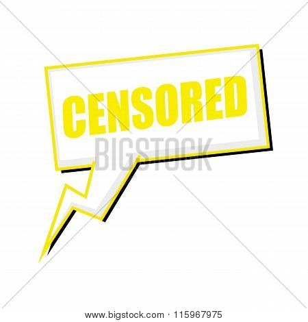 Censored Yellow Stamp Text On White Speech Bubbles