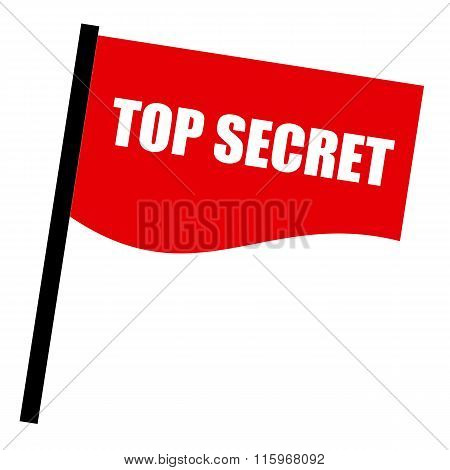 Top Secret White Stamp Text On Red Flag