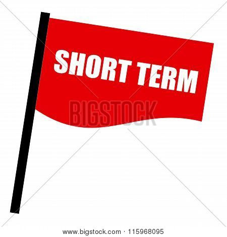 Short Term White Stamp Text On Red Flag