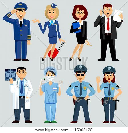Men and women of different work professions and occupations: airlines, medicine, business, police. Vector Illustration