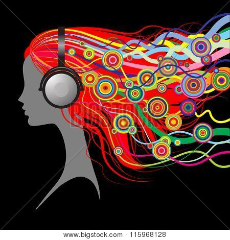 Silhouette of girl's head with red loose hair listen to music with head-phones on black background.  Vector Illustration