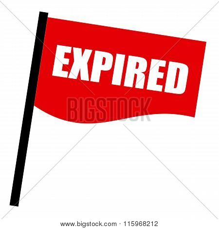 Expired White Stamp Text On Red Flag