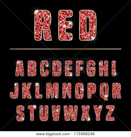 Glitter Alphabet Red