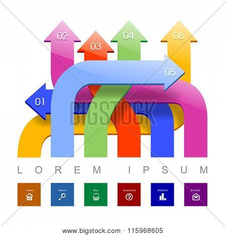 Web template with arrows in different directions and colors. Concept vector illustration