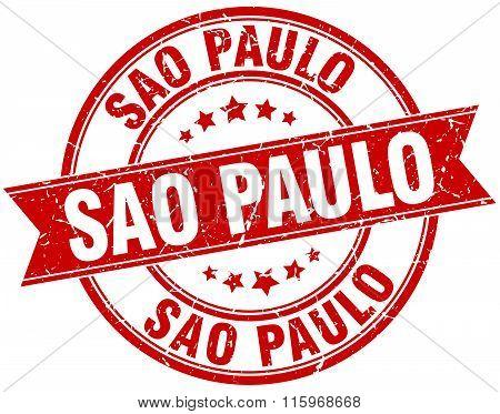 Sao Paulo red round grunge vintage ribbon stamp