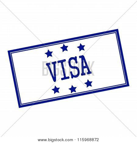 Visa Blue-black  Stamp Text On Background White And Star