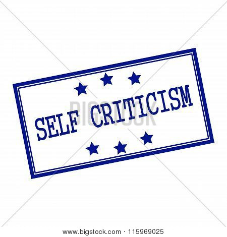 Self-criticism Blue-black  Stamp Text On Background White And Star