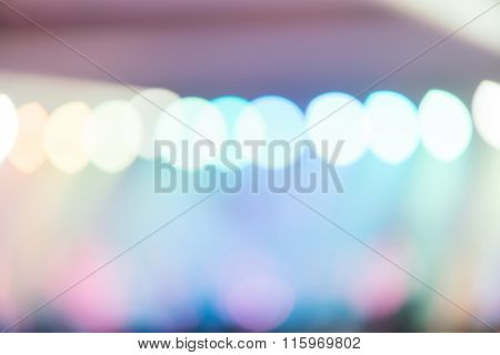 Blurred Background : Bokeh Lighting In Concert With Audience, Music Showbiz Concept, Vintage Filtere