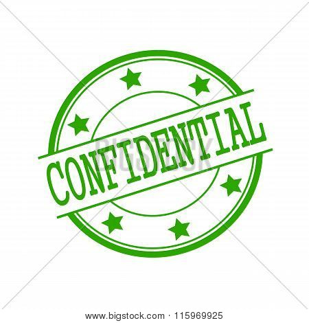Confidential Green Stamp Text On Green Circle On A White Background And Star
