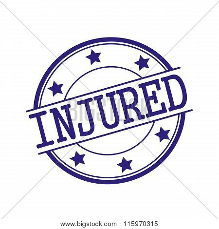 Injured Blue-black Stamp Text On Blue-black Circle On A White Background And Star