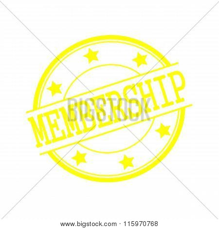 Membership Yellow Stamp Text On Yellow Circle On A White Background And Star