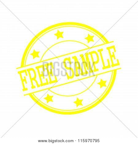 Free Sample Yellow Stamp Text On Yellow Circle On A White Background And Star