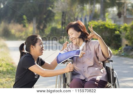 Young Asian Is Taking Care The Senior Woman ,thailand