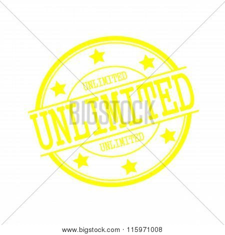 Unlimited Yellow Stamp Text On Yellow Circle On A White Background And Star