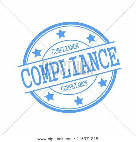Compliance Blue Stamp Text On Blue Circle On A White Background And Star