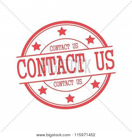 Contact Us Red Stamp Text On Red Circle On A White Background And Star