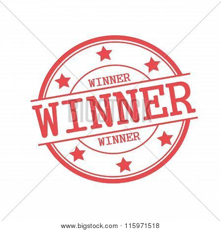 Winner Red Stamp Text On Red Circle On A White Background And Star