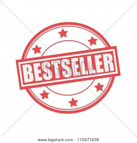 Bestseller White Stamp Text On Circle On Red Background And Star