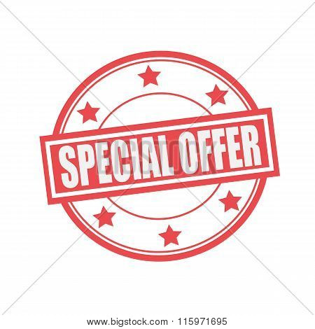 Special Offer White Stamp Text On Circle On Red Background And Star